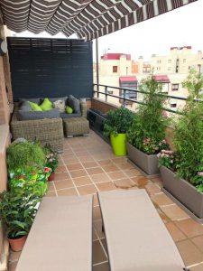 Decoración e instalación de riego por goteo en terraza